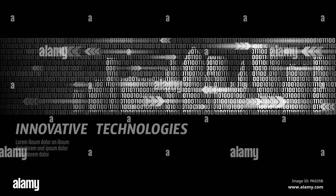 Smart city intelligent building automation system business concept. Binary code number data flow. Architecture urban cityscape technology sketch banner vector illustration - Stock Image