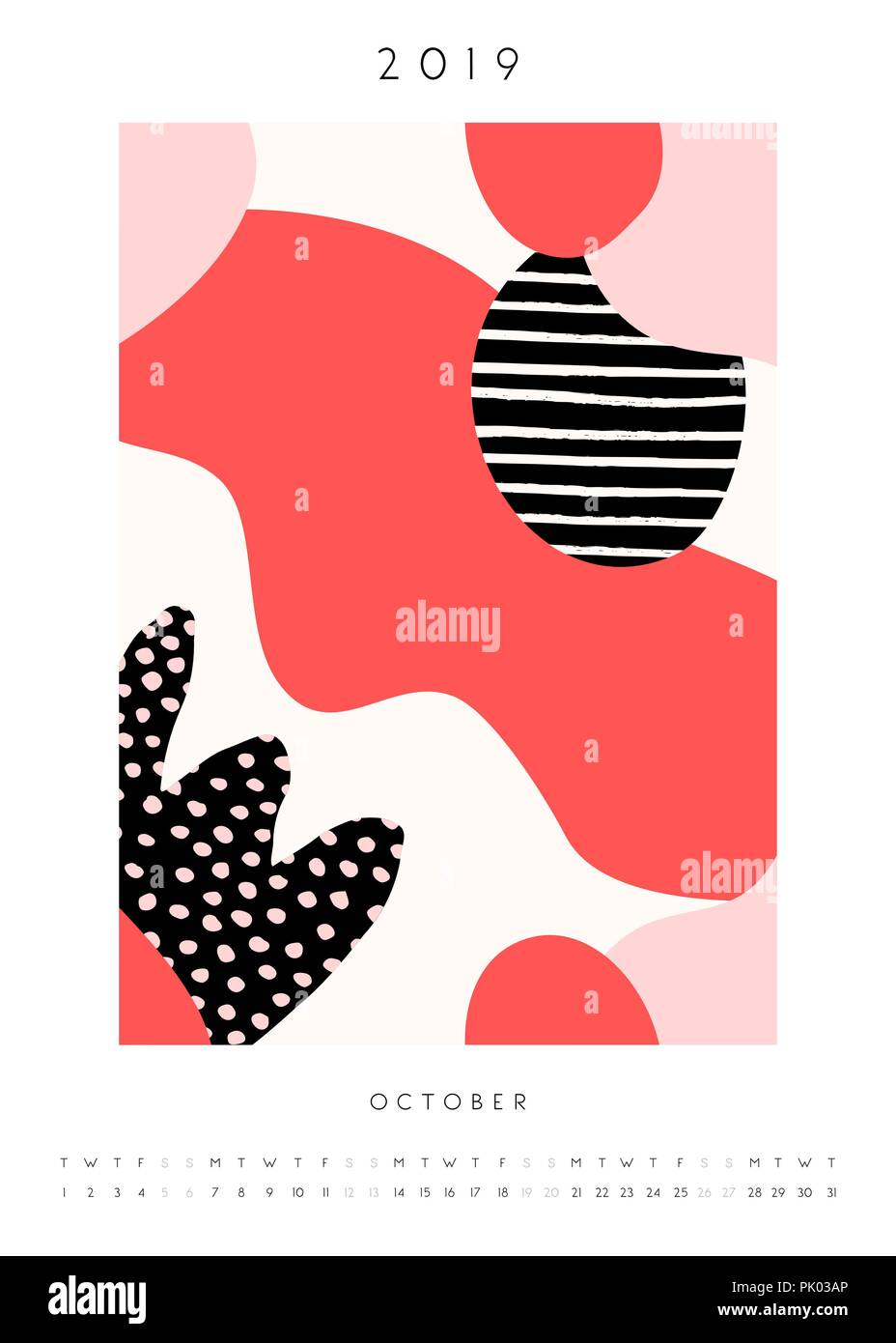 Printable A4 Size October 2019 Calendar Template Collage Style
