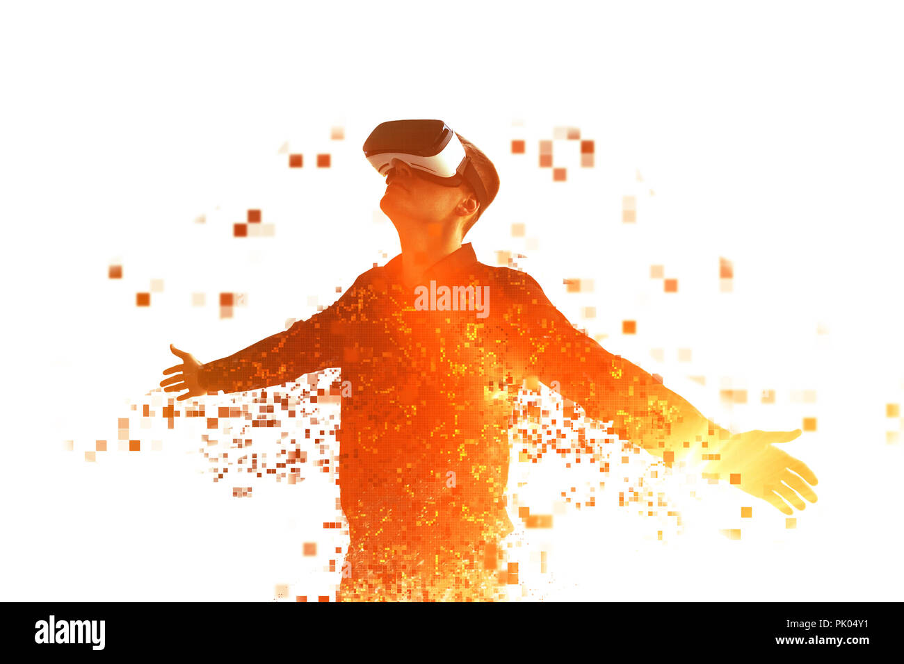 A person in virtual reality glasses flies to pixels. The concept of new technologies and technologies of the future. VR glasses. - Stock Image