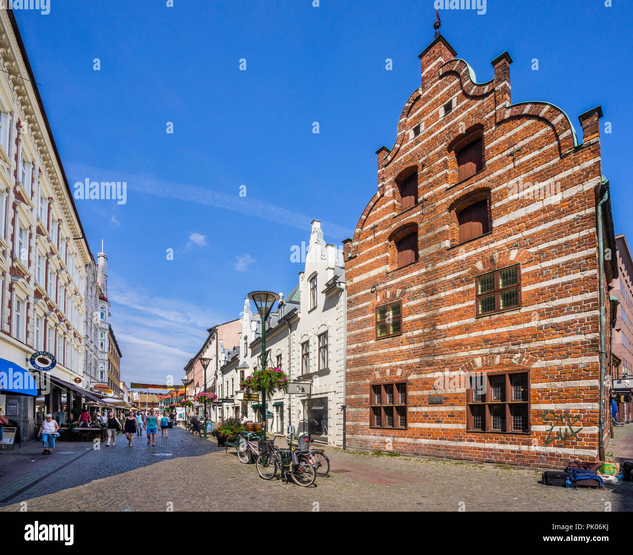 the Flemish House on Södegatan in Malmö, built 1596 in Dutch Renaissance style, it is to this day distinct with its decorative red brick alternating w - Stock Image