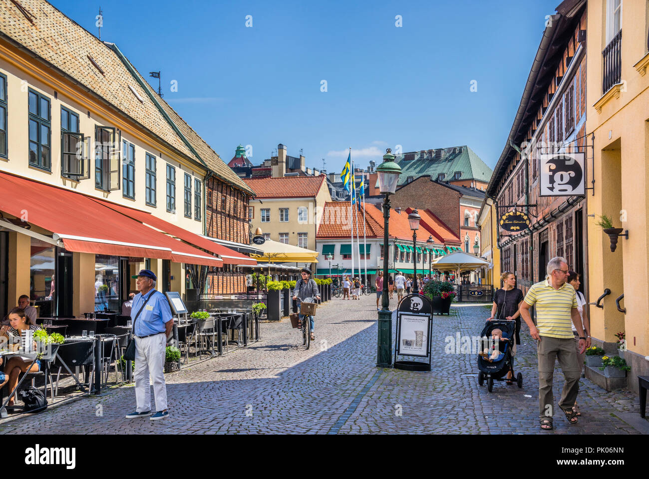 ancient half-timbered houses at Larochegatan, Lila Torg, Little Square in the historic old town of Malmö, Scania, Sweden - Stock Image