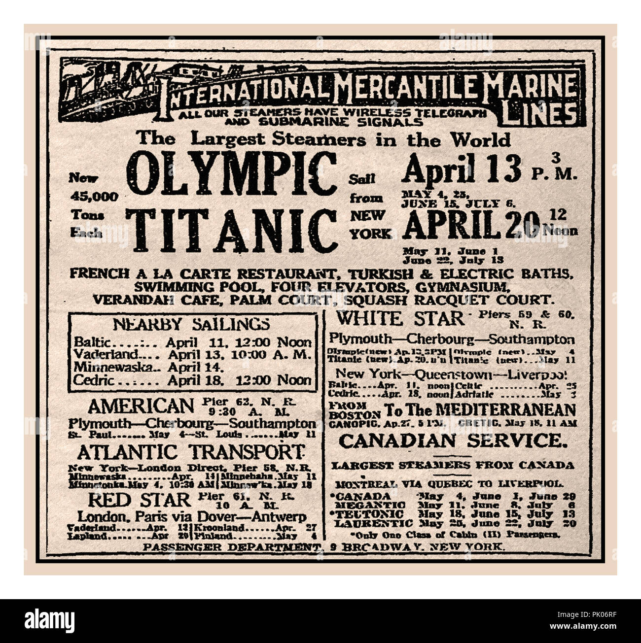 RMS TITANIC newspaper advertisement in New York Times for the first maiden voyage eastbound transatlantic sailing of Titanic from New York to Europe departing noon April 20th 1912. This scheduled sailing sadly did not take place. Titanic was tragically lost on April 15th 1912 Stock Photo