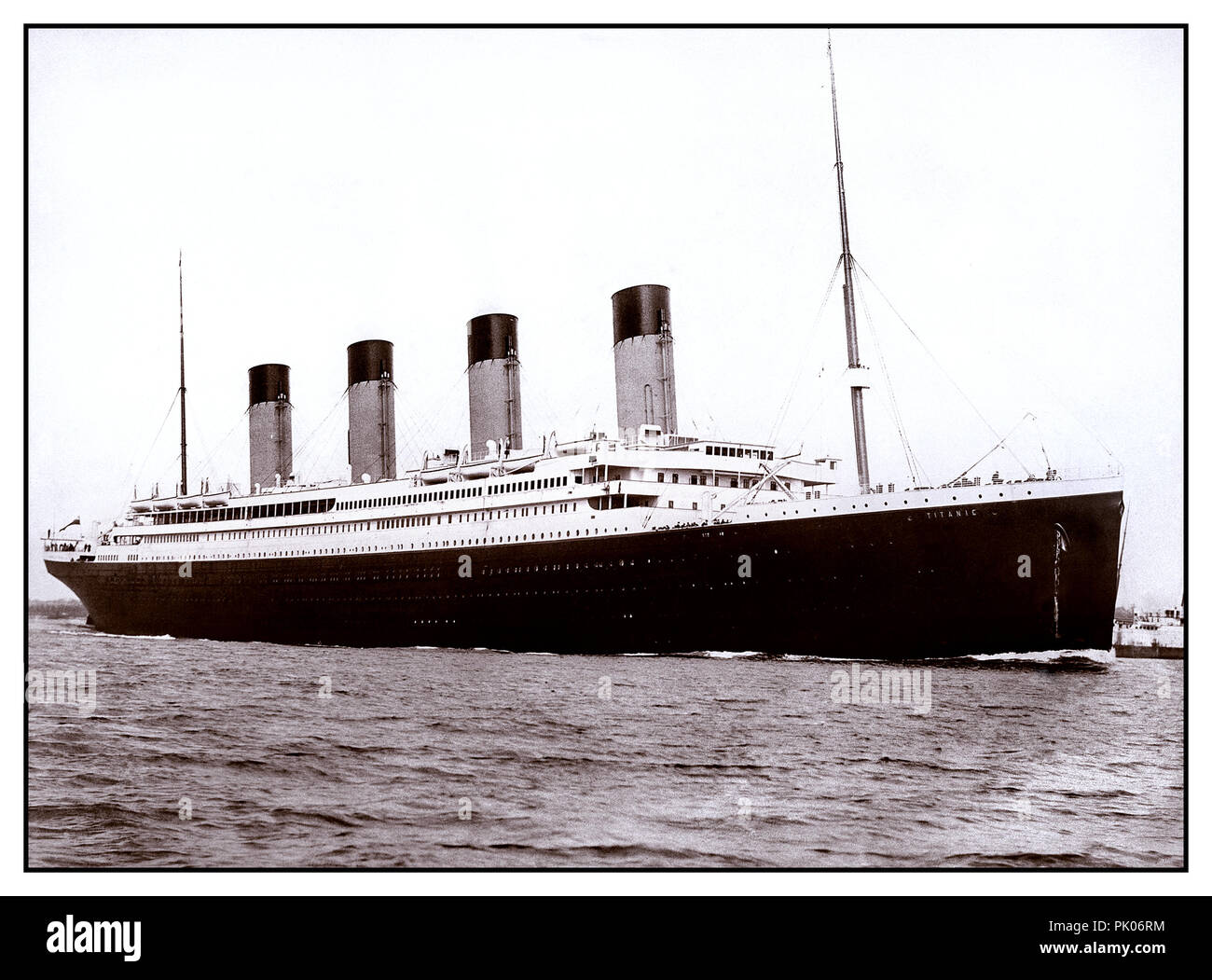 RMS Titanic April 2nd 1912 leaving Harland & Wolff Shipyards on her sea trials prior to the tragic fateful maiden voyage Stock Photo
