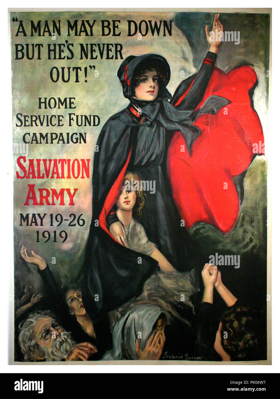 "Vintage Salvation Army fund raising poster 1919 post World War 1 'Home Service Fund Campaign' May 19-26 ""A MAN MAYBE DOWN BUT HE'S NEVER OUT !"" - Stock Image"