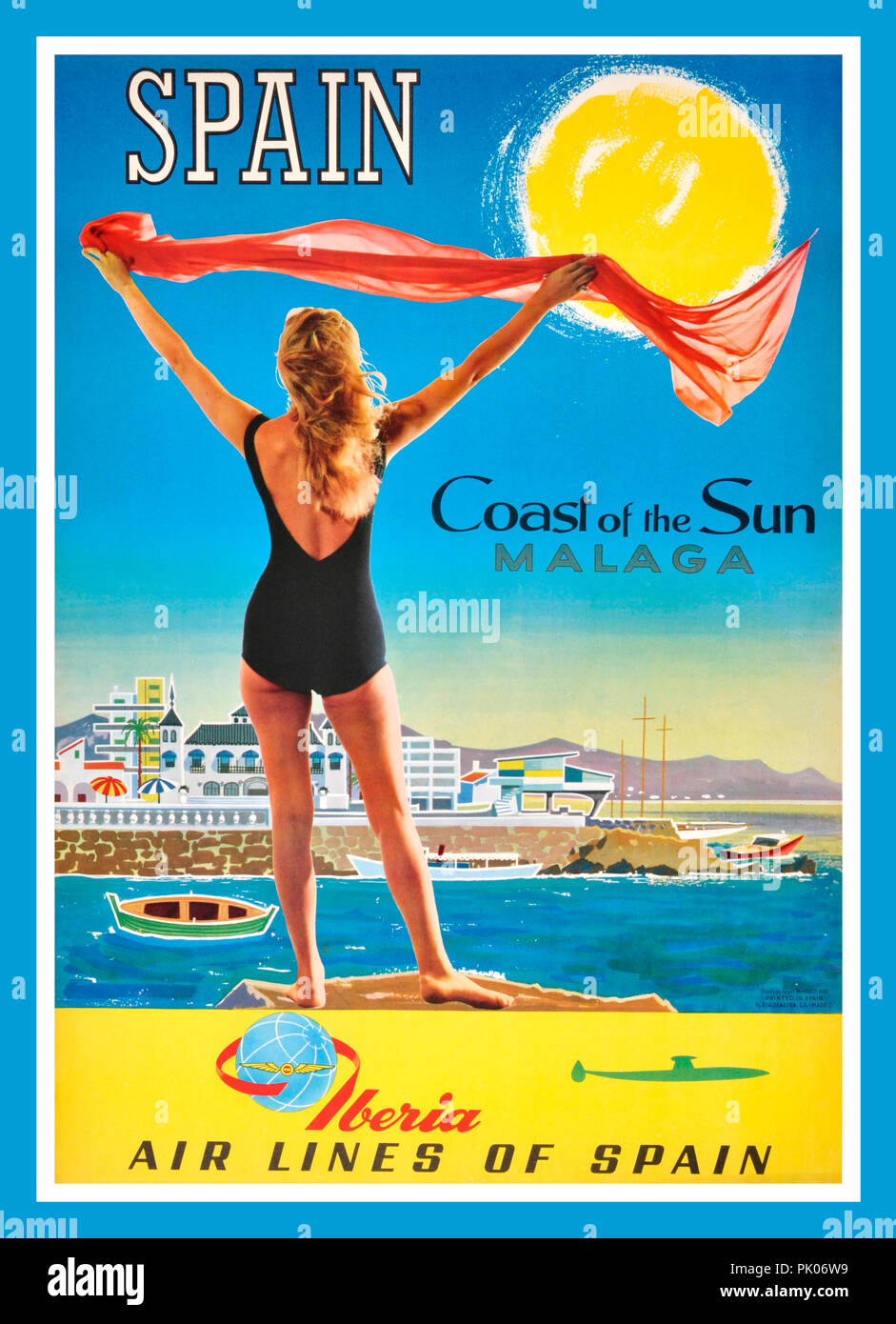 1960's Vintage Spanish Holiday Travel Poster Spain Malaga Iberia Airlines Original vintage Spanish travel poster advertising Malaga - Coast of the Sun - by Iberia Air Lines of Spain. Poster illustrating lady wearing one-piece swimsuit, holding up red scarf billowing in the wind with typical resort town, boats and a harbour wall on the sea and mountains on the horizon, a bright sun in the blue sky overhead. Iberia (Iberia, Lineas Aereas de Espana, S.A. Operadora, Sociedad Unipersonal) is the national flag carrier of Spain, founded in 1927. Historic Vintage Travel Poster, Spain, 1960's - Stock Image
