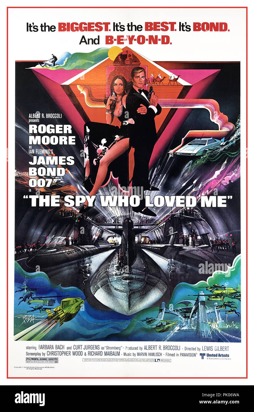 JAMES BOND ROGER MOORE 'The Spy Who Loved Me' is a 1977 British spy film, the tenth in the James Bond series produced by Eon Productions, and the third to star Roger Moore as the fictional secret agent James Bond. Barbara Bach and Curt Jürgens co-star. It was directed by Lewis Gilbert and the screenplay was written by Christopher Wood and Richard Maibaum. - Stock Image