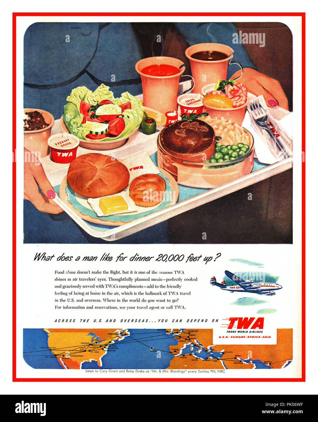 """Vintage airline food advert for TWA Meals 1951 Aviation Airline catering in-flight meal food tray """" What does a man like for dinner 20,000 feet up ?"""" - Stock Image"""