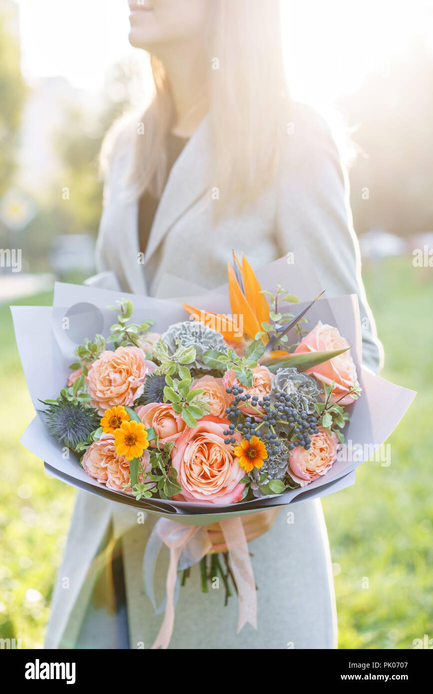 Bird Of Paradise Flower Beautiful Spring Bouquet Young Girl