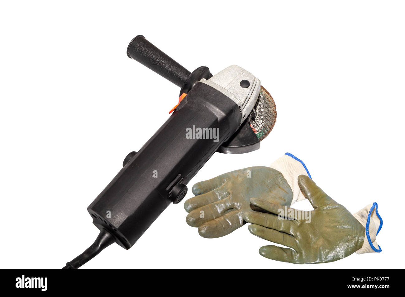 angle grinder and gloves isolated on white background - Stock Image