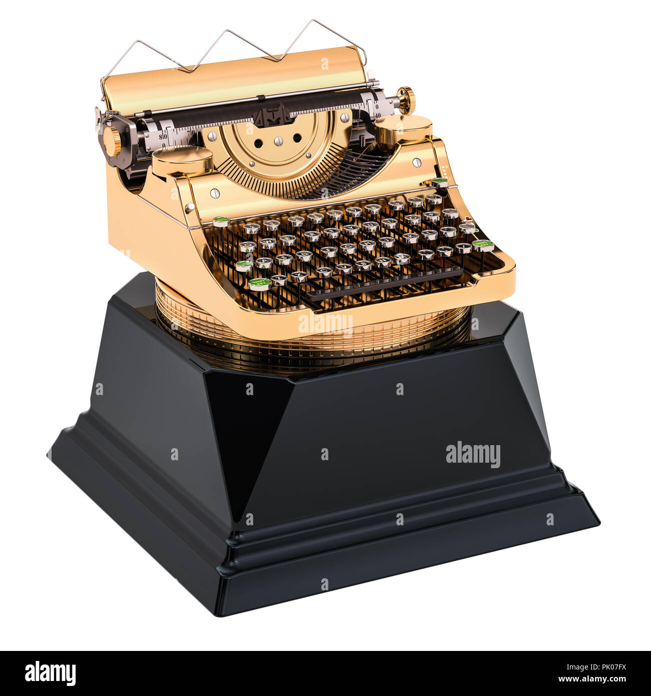 Golden typewriter award. Best publication or writer concept, 3D rendering isolated on white background - Stock Image