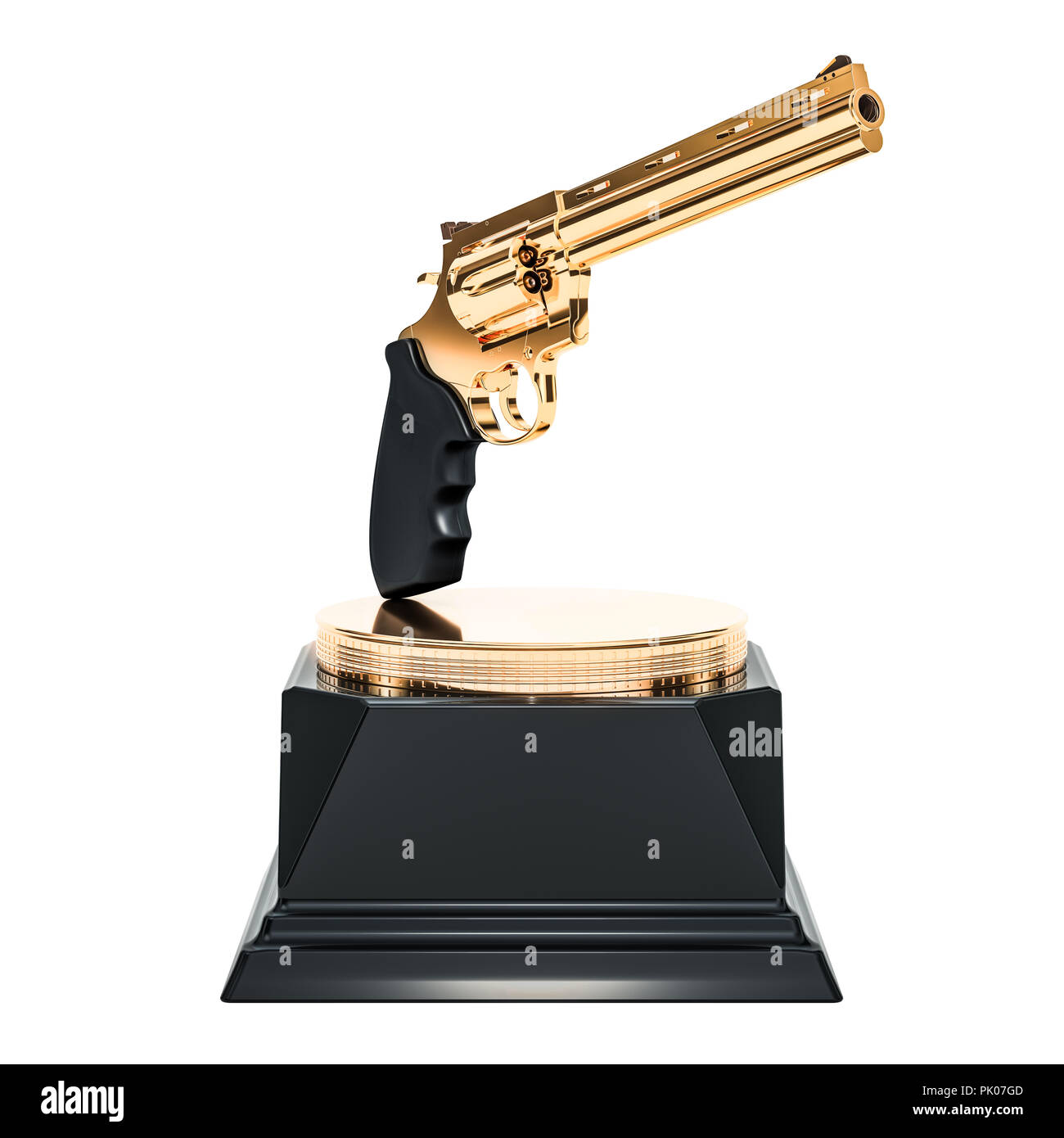 Golden Weapon Award, 3D rendering isolated on white background - Stock Image