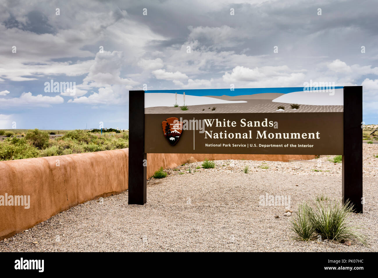 White Sands National Monument entrance sign in New Mexico USA - Stock Image