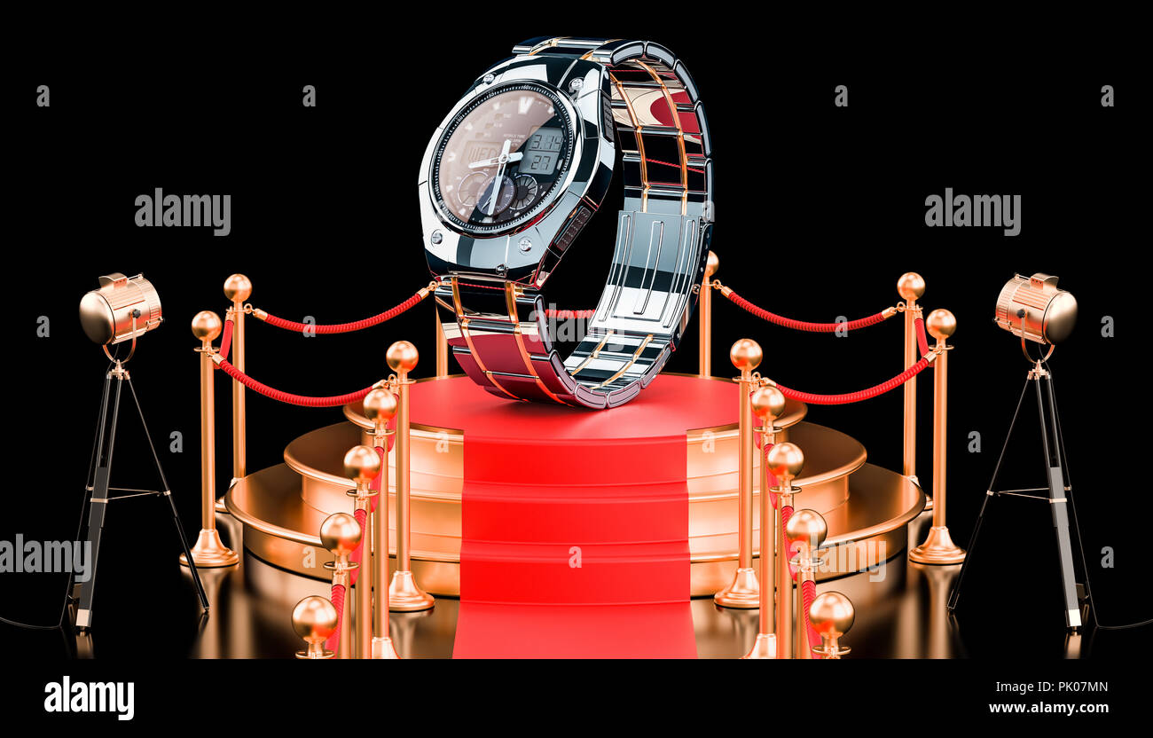 Podium with Analog Digital Wrist Watch for men, 3D rendering - Stock Image