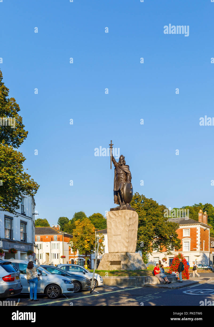 Iconic statue of King Alfred the Great in the Broadway, Winchester, Hampshire, southern England, UK - Stock Image