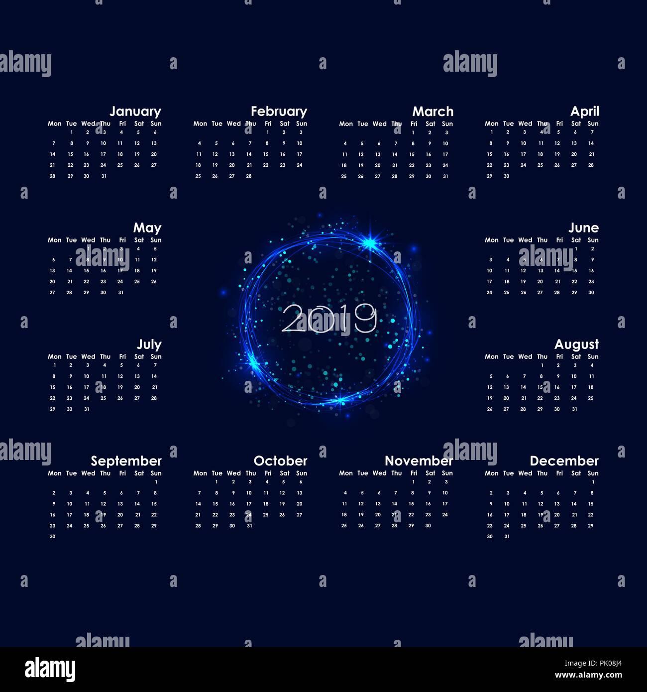 2019 calendar templatestarts mondayyearly calendar vector design stationery templatehappy new year 2019 backgroundabstract burning circles with gl