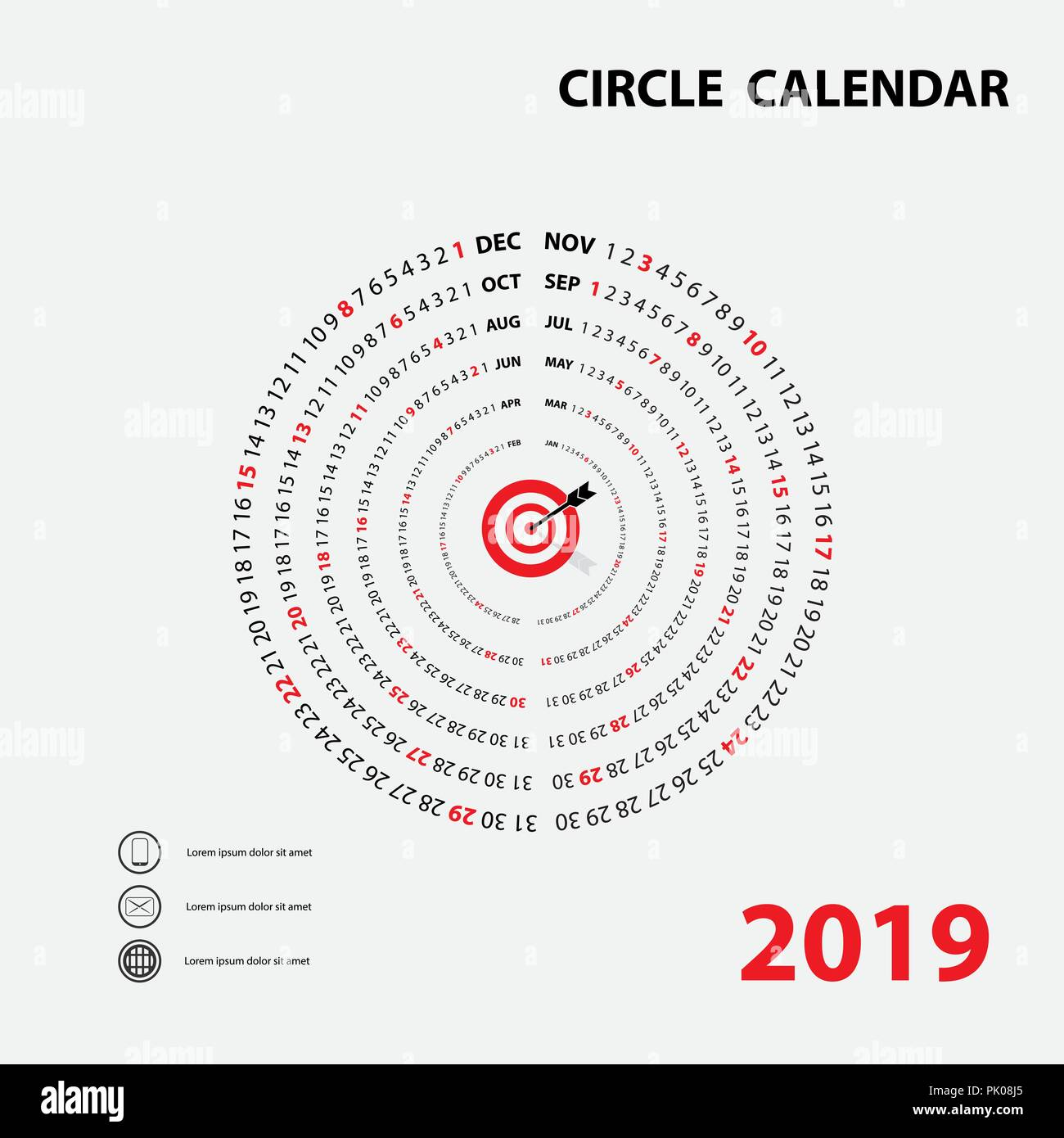 2019 calendar templatecircle calendarcalendar 2019 set of 12 monthsyearly calendar vector design stationery templatehappy new year 2019 background