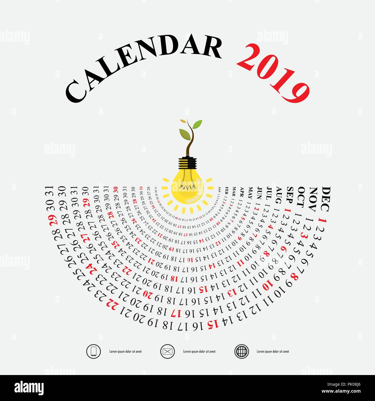 2019 calendar template with idea light bulb icon semicircle calendar
