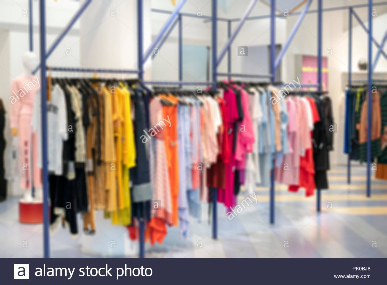 bd6ff5c4b7a Background blur Fashionable clothes in a boutique store in London ...