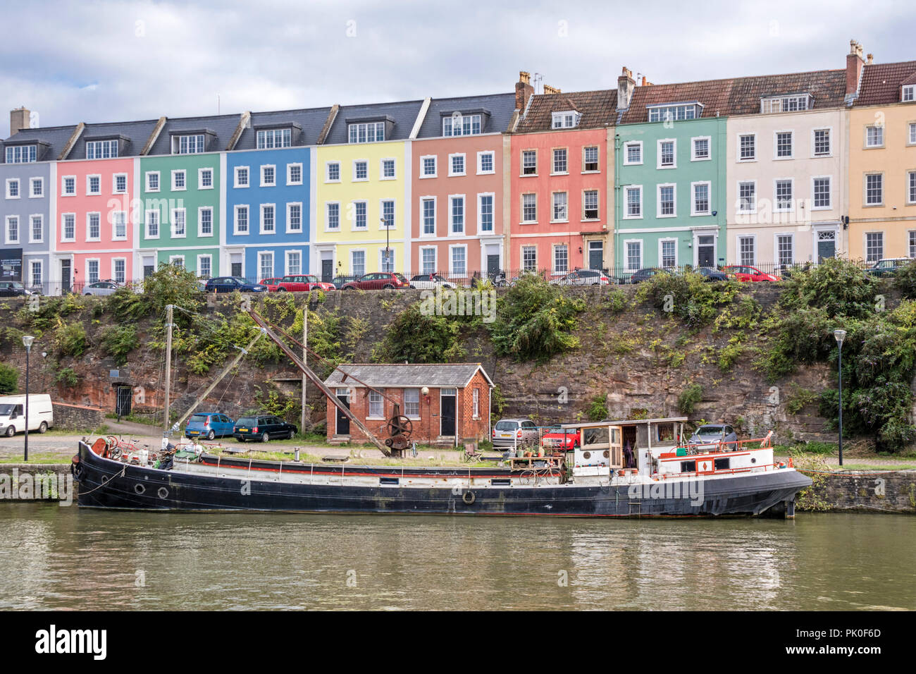 Colourful houses in Bristol harbour, Bristol, England, UK - Stock Image