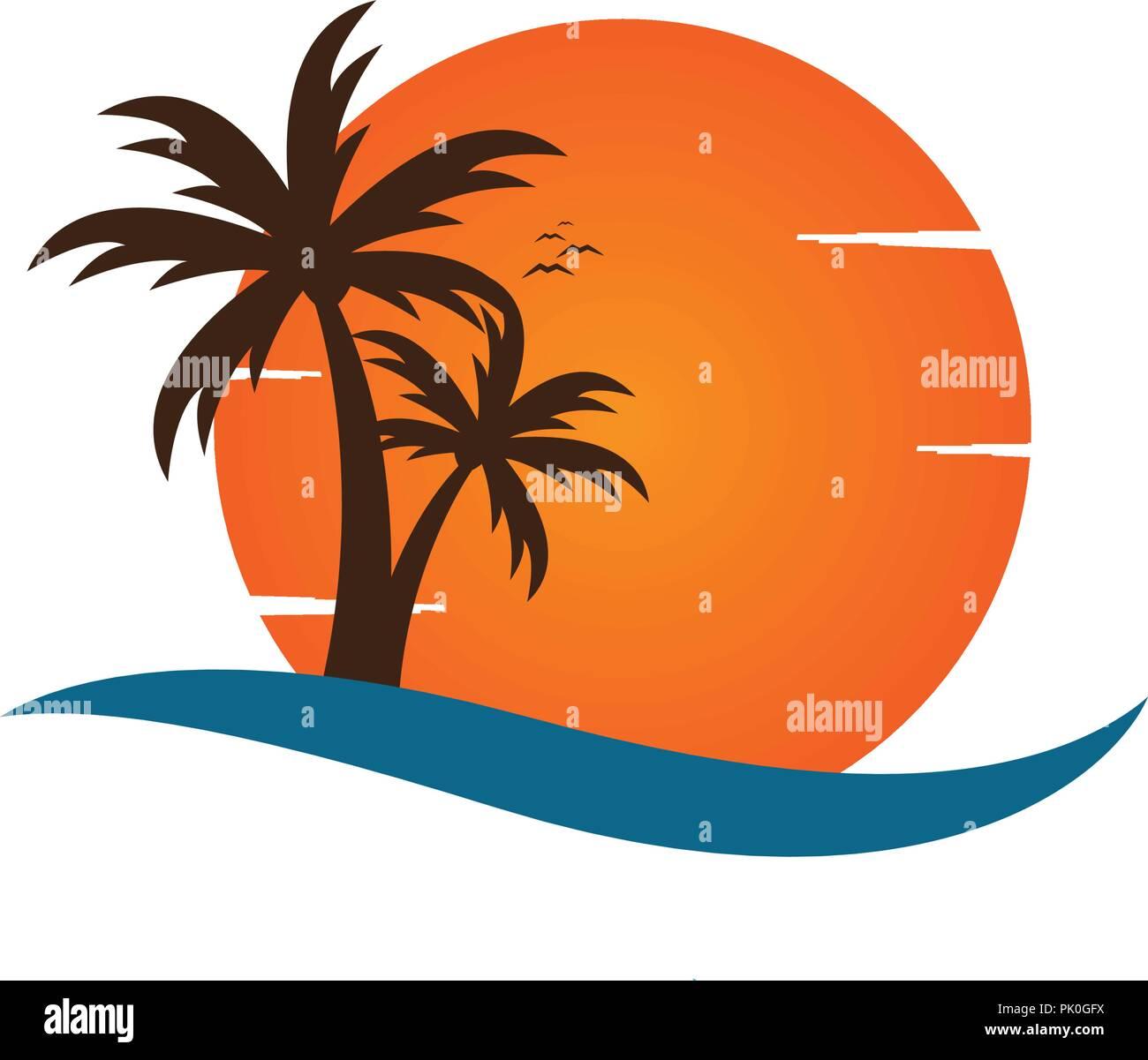 Palm Tree On A Beach Logo Design Template Vector Stock Vector Art