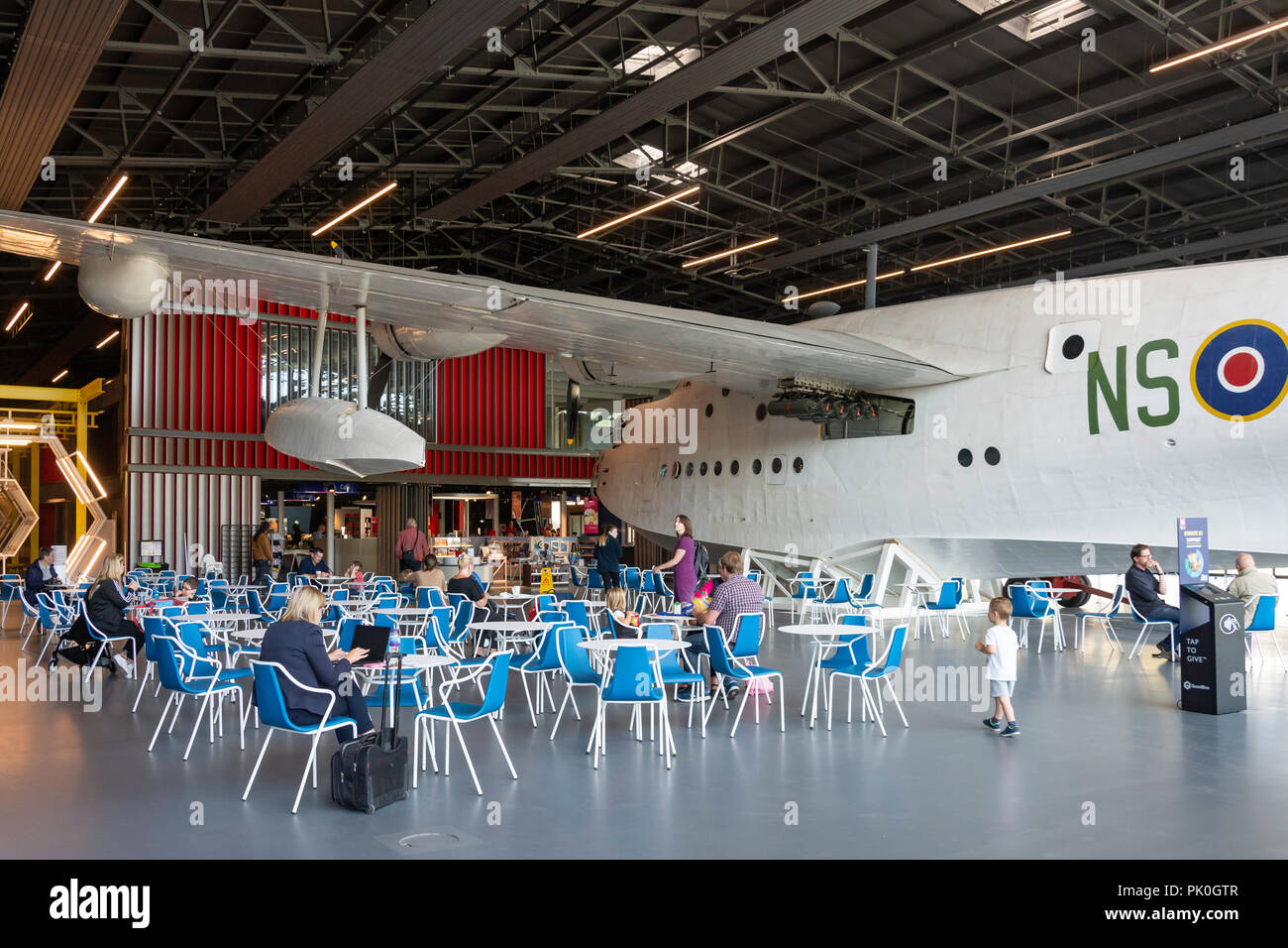 Cafe with Short Sunderland flying boat on display, Royal Air Force Museum, Colindale, London Borough of Barnet, Greater London, England, United Kingdo - Stock Image