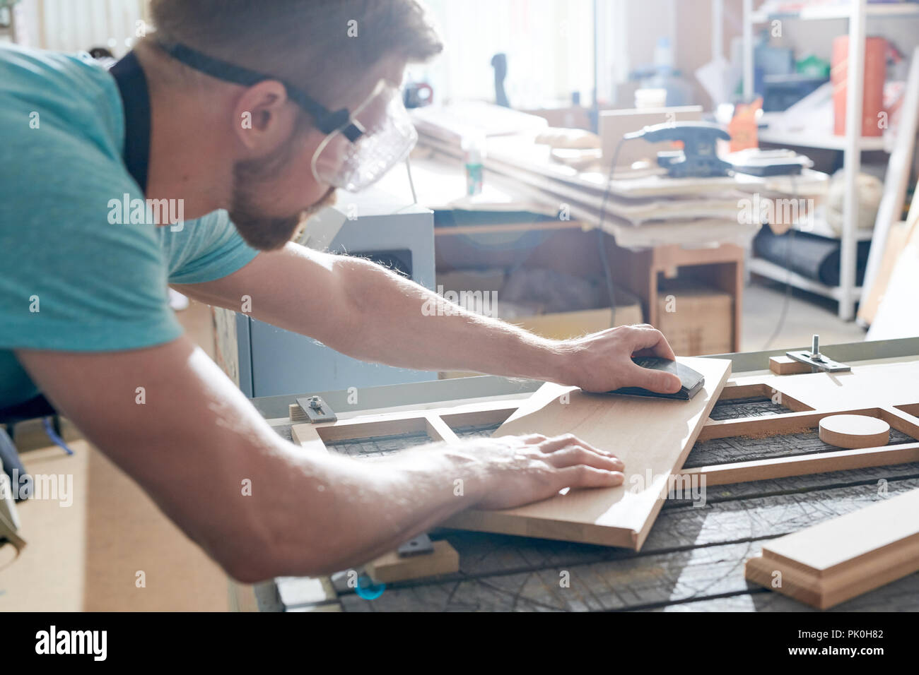 Carpenter at work - Stock Image