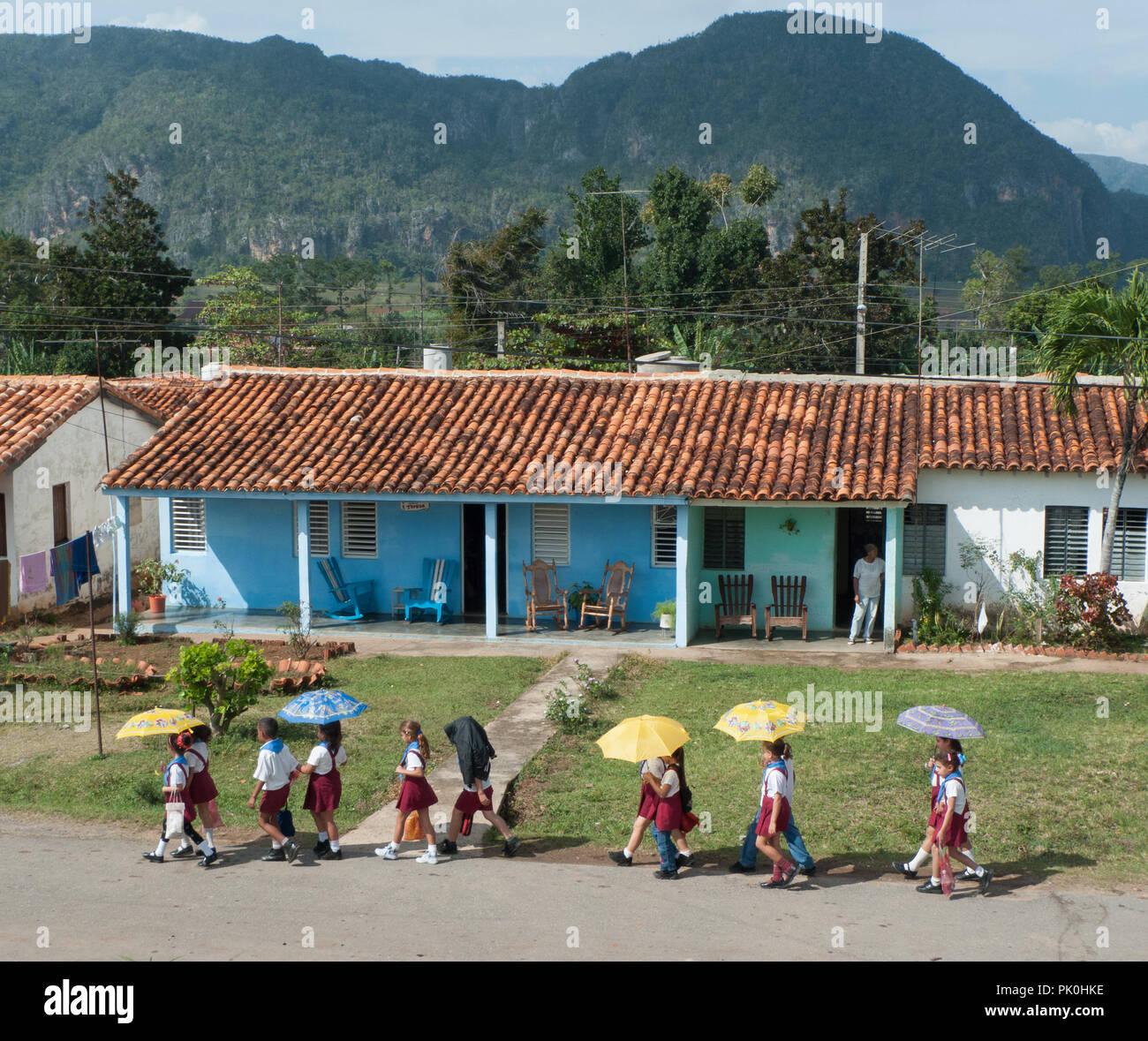 Schoolchildren in Vinales Cuba - Stock Image