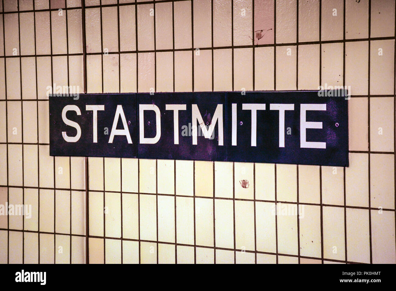 Stadtmitte (central) underground station on Friedrichstrasse in Berlin, Germany - Stock Image