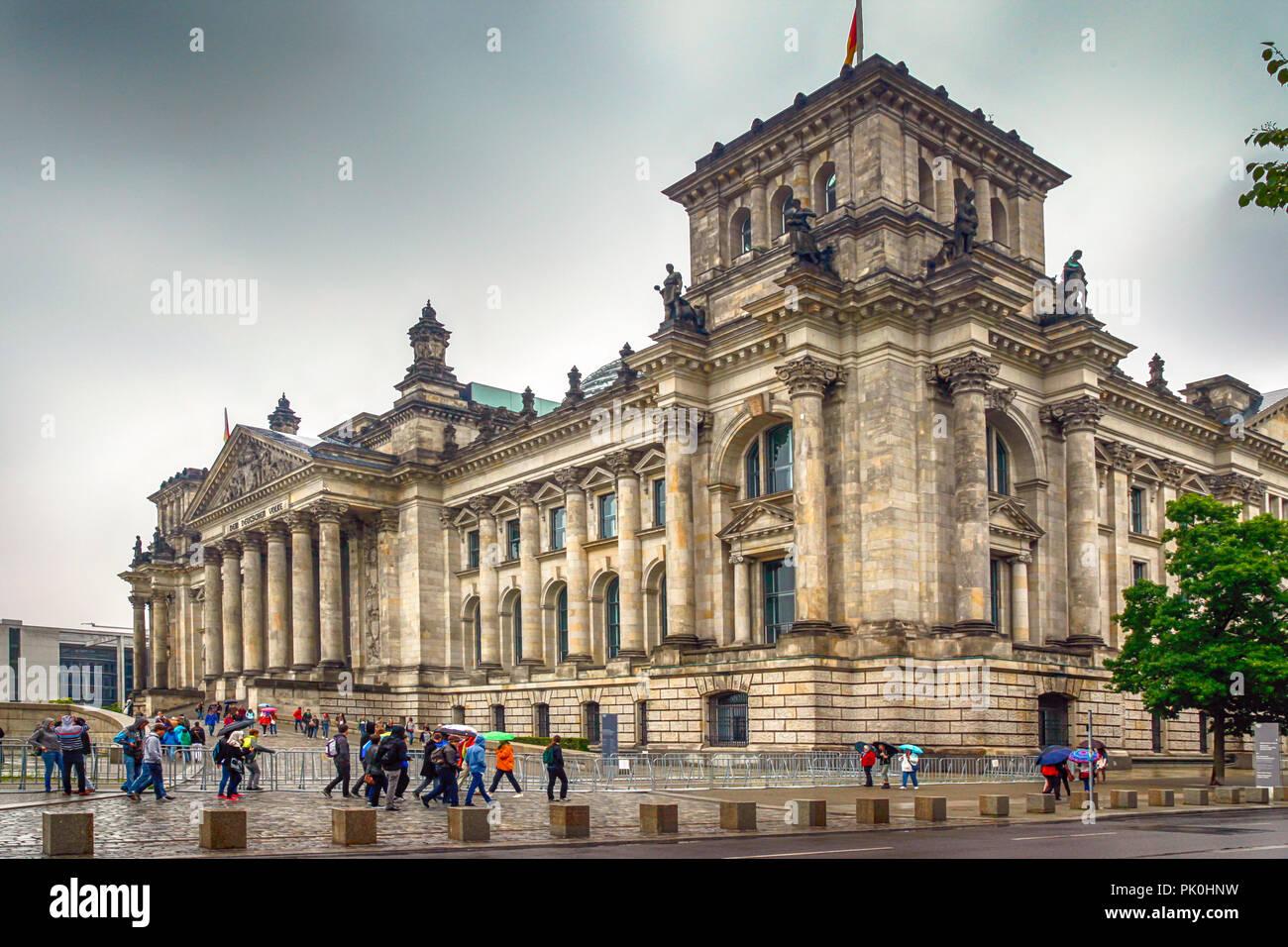 The Deutscher Bundestag (parliament building) in Berlin, Germany - Stock Image