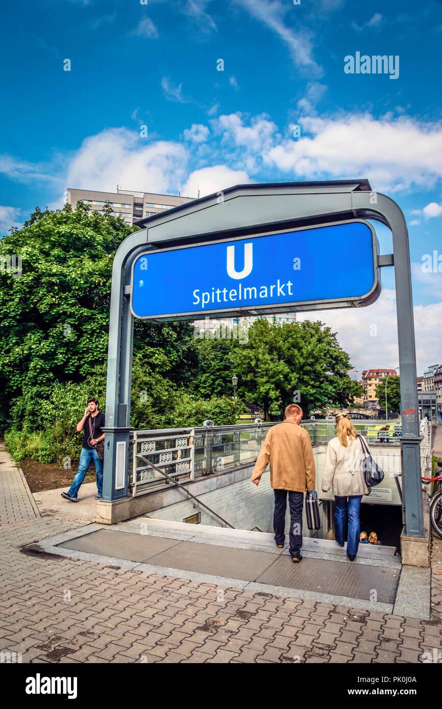 People entering the underground subway station at Spittelmarkt, Berlin, Germany - Stock Image