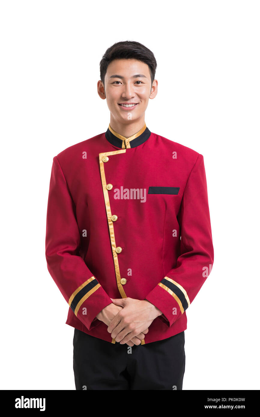 Portrait of young bellboy - Stock Image