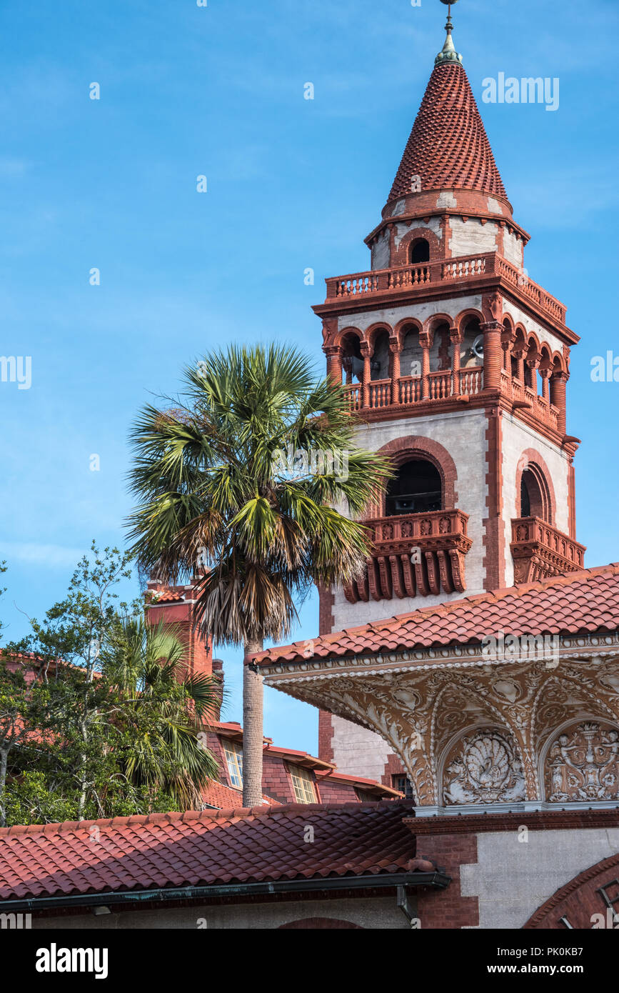 Flagler College tower in historic downtown St. Augustine, Florida. (USA) - Stock Image