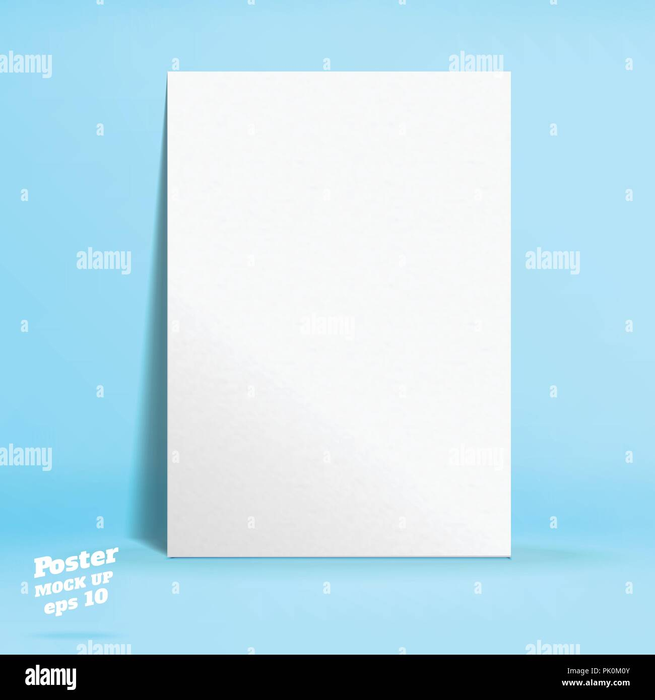 Vector of White paper poster in pastel colorful blue studio room,Template mock up for display of product or your content ,Business presentation - Stock Vector