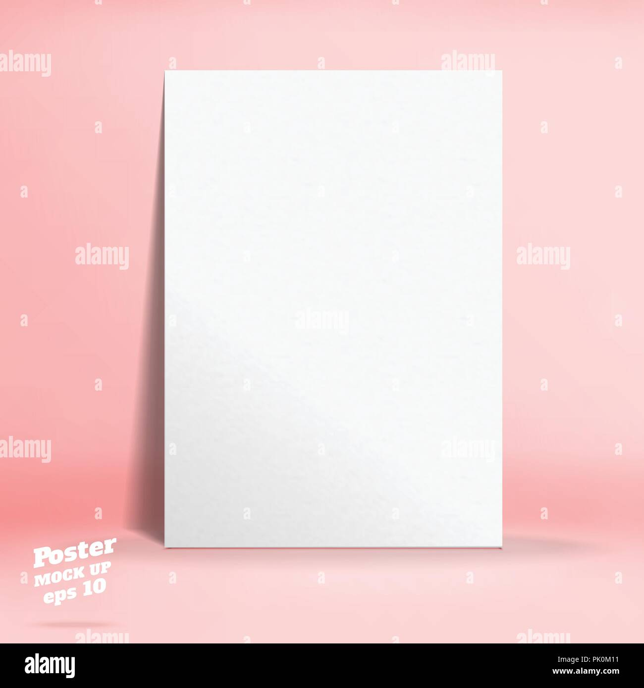 Vector of White paper poster in pastel colorful pink studio room,Template mock up for display of design or your content ,Business presentation - Stock Vector