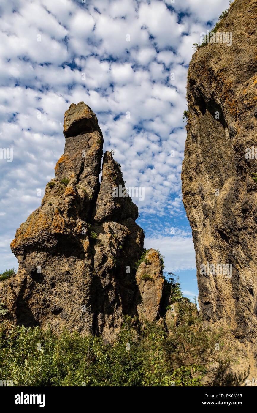 Godzilla-iwa Rock (????) Oronko-iwa Rock and Sankaku-iwa Rock are picturesque rock or island formations around the tip of Cape Utoro. These huge rocks - Stock Image