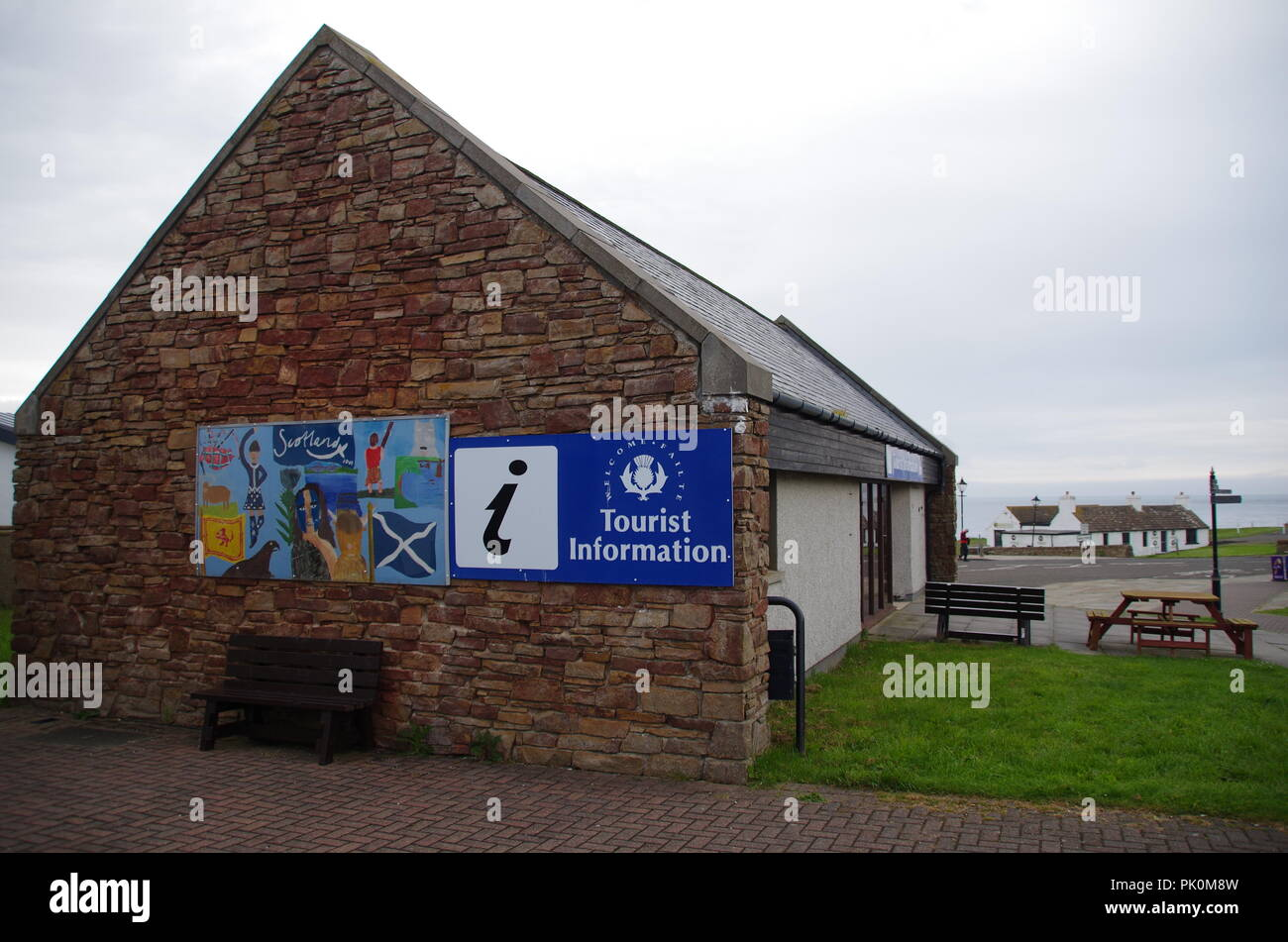 The start of a long hike. John o' groats (Duncansby head) to lands end. Cornwall. End to end trail. Caithness. Highlands. Scotland. UK - Stock Image
