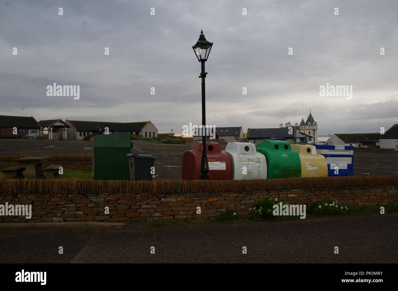Recycling bins. The start of a long hike. John o' groats (Duncansby head) to lands end. Cornwall. End to end trail. Caithness. Highlands. Scotland. UK - Stock Image