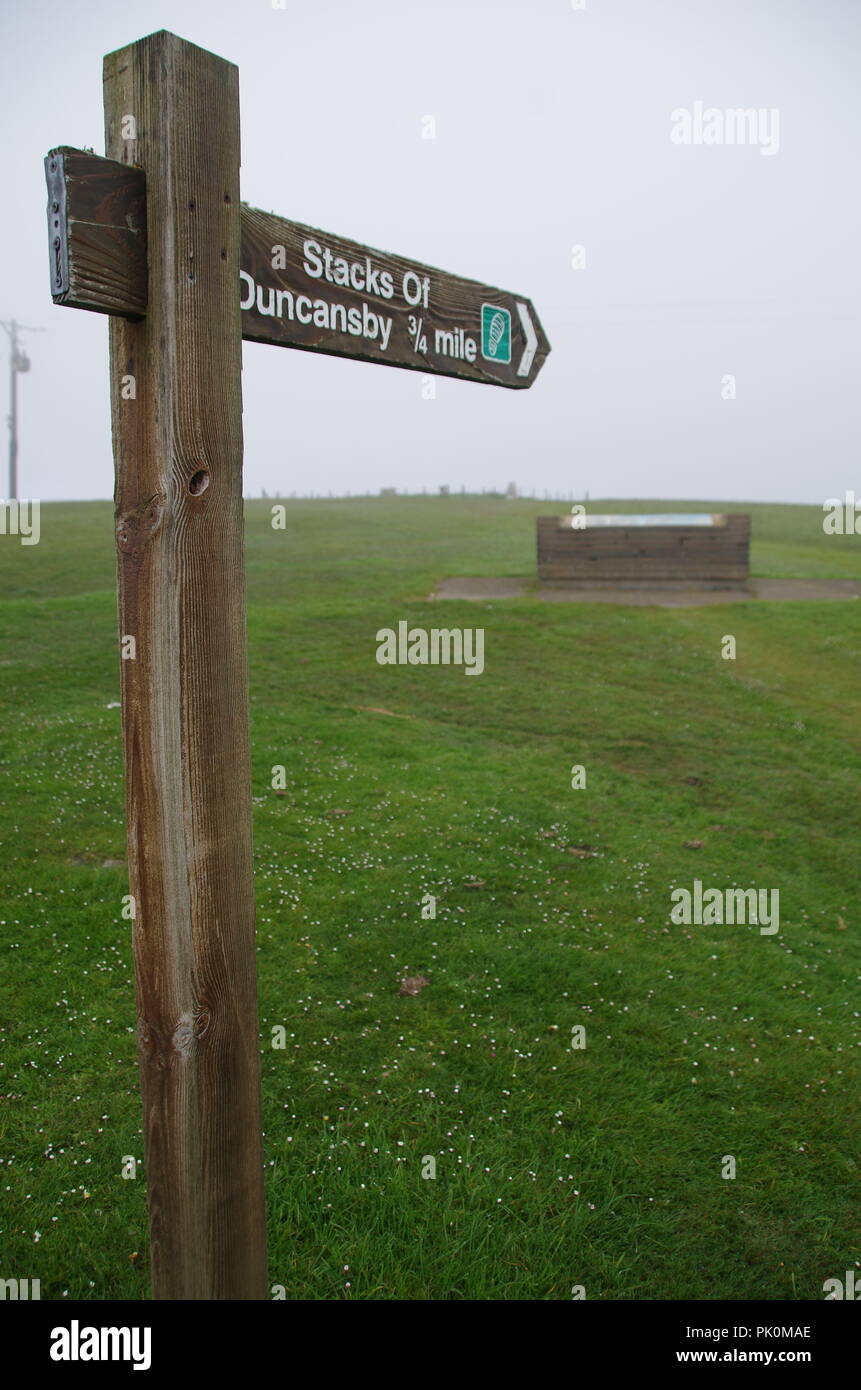 Duncansby Stacks sign. Duncansby Head. John o' groats (Duncansby head) to lands end. Cornwall. End to end trail. Caithness. Highlands. Scotland. UK - Stock Image