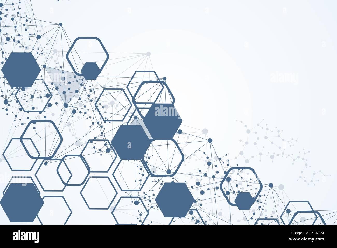 Hexagonal abstract background. Big Data Visualization. Global ...