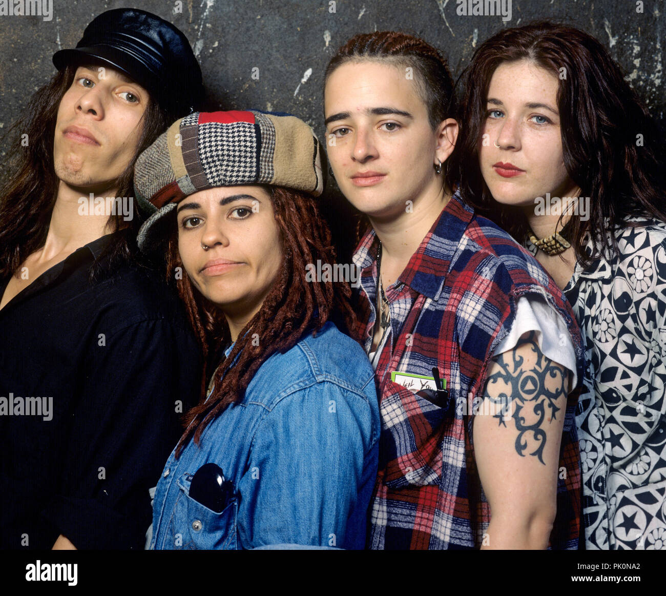 v.l. Louis Metoyer, Linda Perry, Christa Hillhouse, Dawn Richardson (4 Non Blondes) on 18.07.1993 in  Bad Mergentheim. | usage worldwide