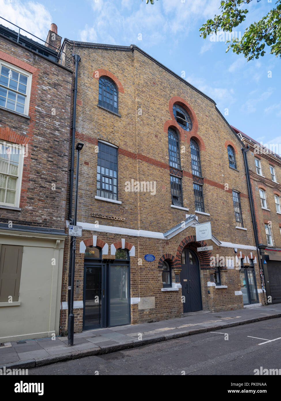 Hanbury Hall, a former Huguenot chapel in Hanbury Street, Spitalfields, now owned by Christ Church famous for Dickens and Match Girl strike - Stock Image