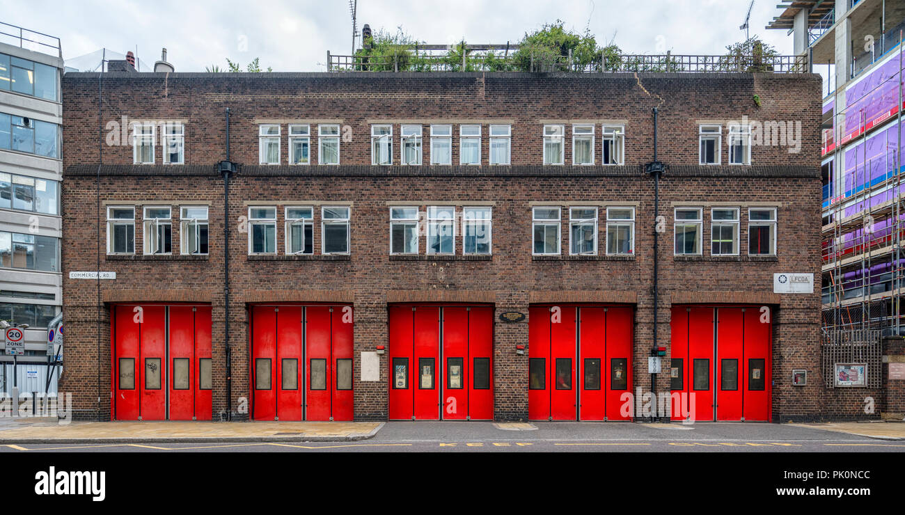 London Fire Brigade station at Commercial Road, London, a fine example of an interwar fire station still in use in Tower Hamlets - Stock Image