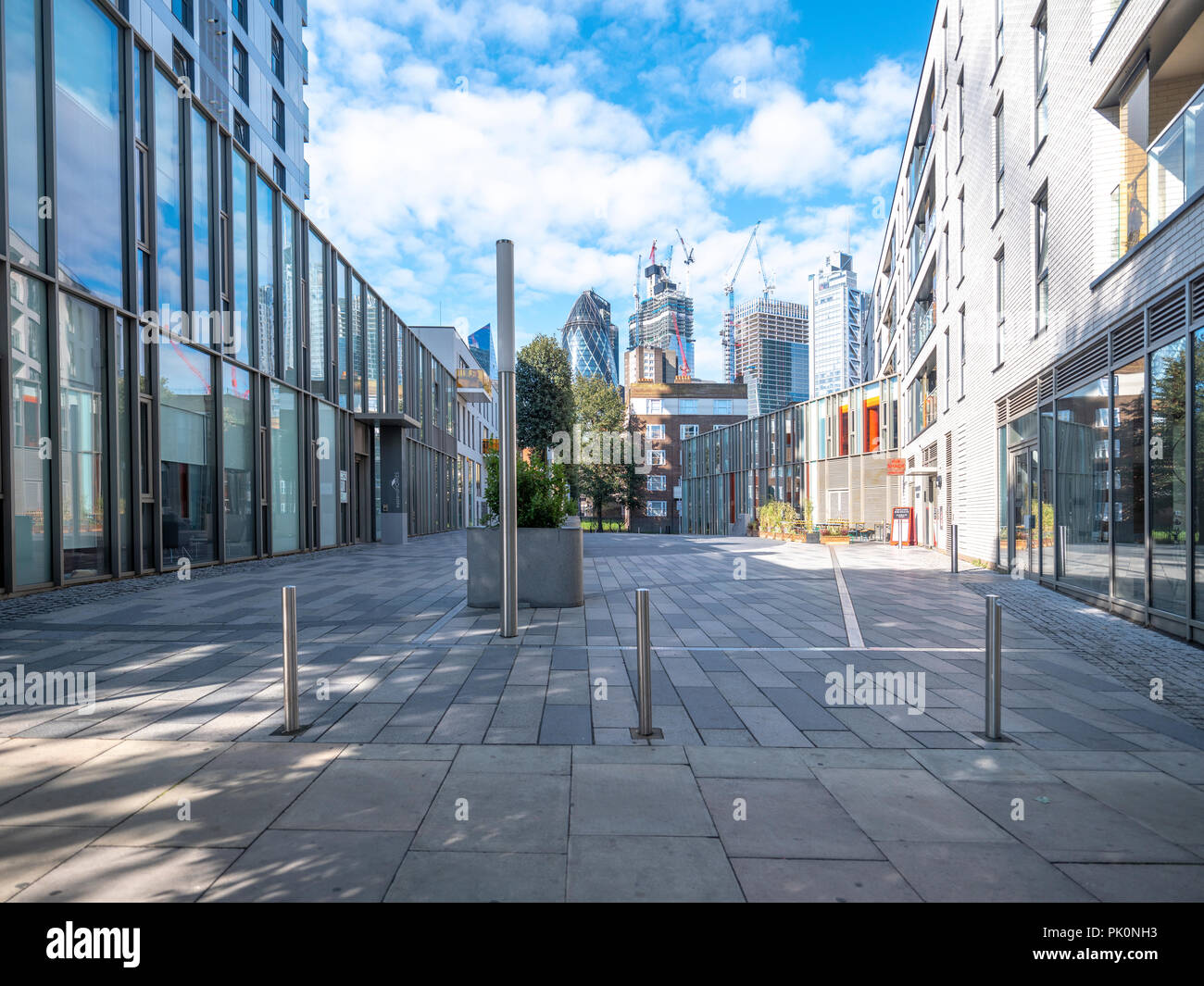 Resolution Place, Commercial Street London, looking towards the City of London - Stock Image