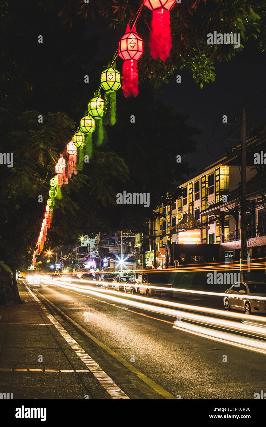 Lanterns and light trails at Loy Krathong festival in Chiang Mai Thailand Stock Photo