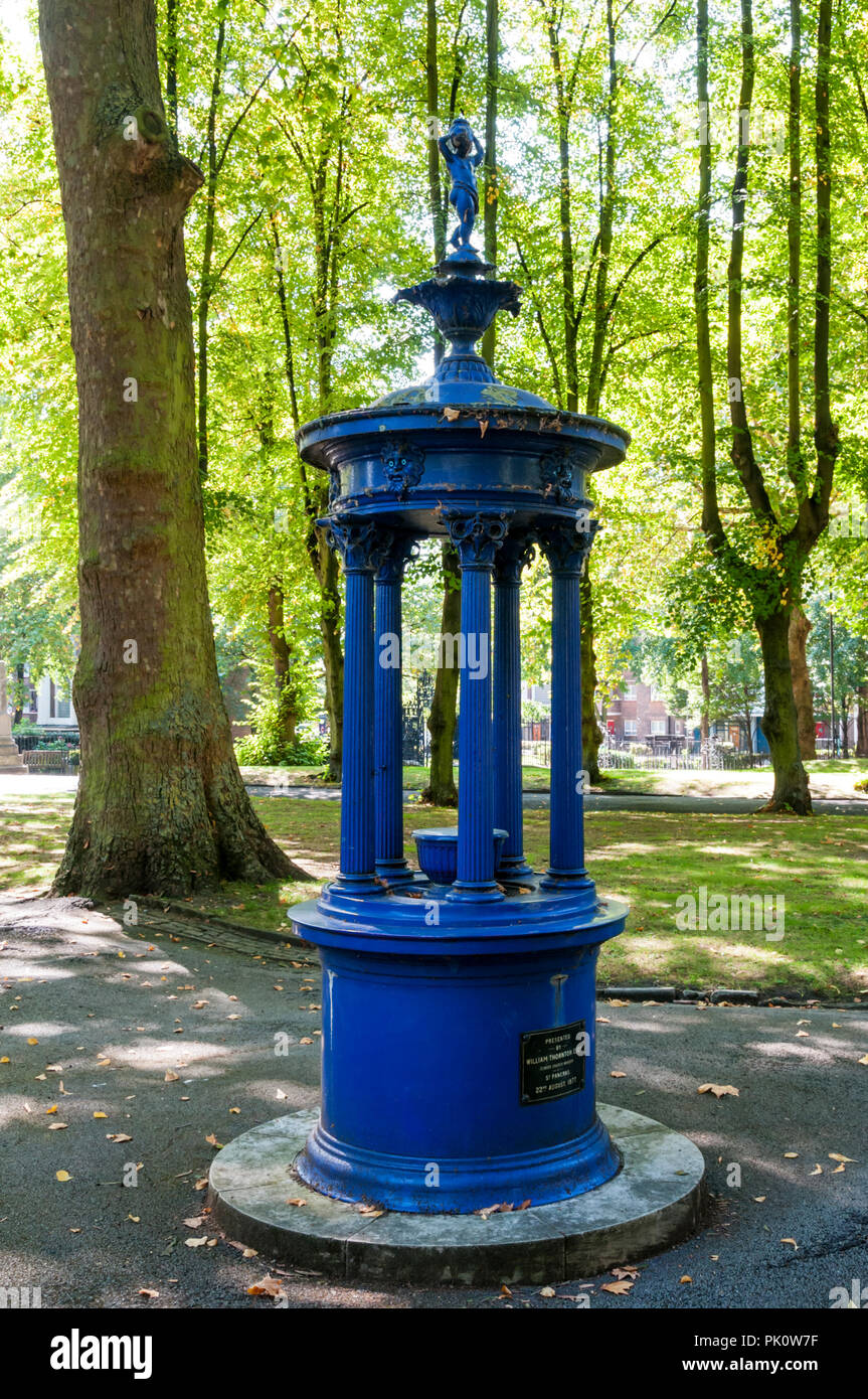 Victorian drinking fountain in the churchyard of Pancras Old Church. Stock Photo