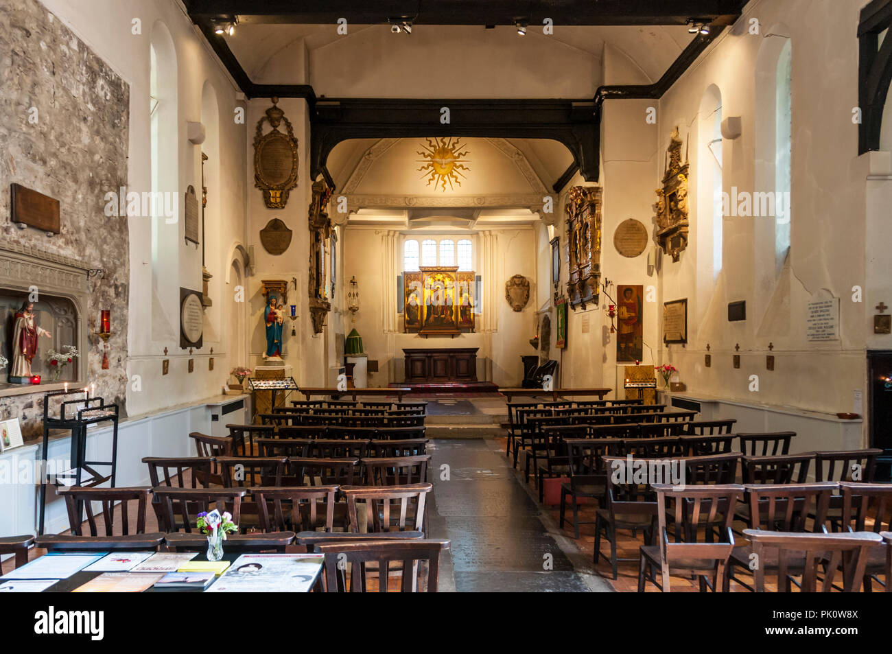 Interior of St Pancras Old Church. Believed to be one of the oldest Christian sites in England, it was largely rebuilt in Victorian times. - Stock Image