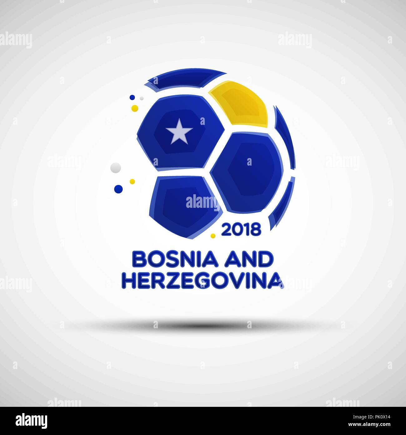 Football championship banner. Flag of Bosnia and Herzegovina. Vector illustration of soccer ball with Bosnian and Herzegovinian national flag colors - Stock Vector
