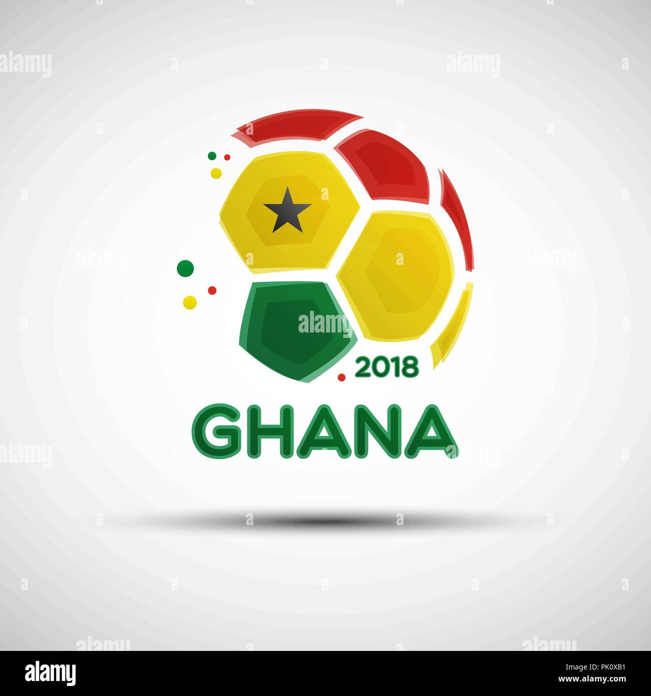 Football championship banner. Flag of Ghana. Vector illustration of abstract soccer ball with Ghanaian national flag colors for your design - Stock Vector
