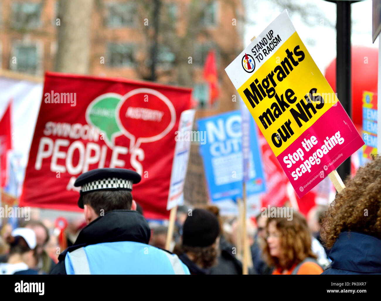 Pro-NHS demonstration, March 2017. London, England, UK. - Stock Image