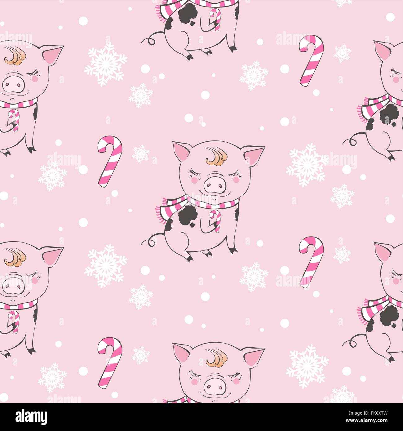 Set Of Cute Pig Cartoon Seamless Characters Pattern Chinese Symbol Of The 2019 Year Happy New Year Cute Funny Piggy Illustration Stock Vector Image Art Alamy